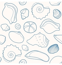 Marine seamless pattern with shells vector