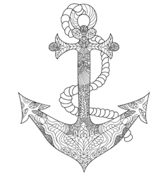 Anchor coloring for adults vector