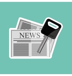 Newspaper and key car design vector