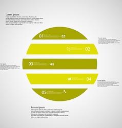 Circle horizontaly divided to five green parts on vector