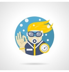 Diver leisure color detailed icon vector