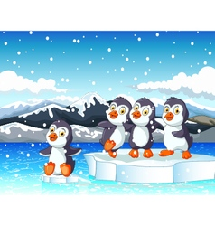 Funny penguins cartoon with snow mountain vector