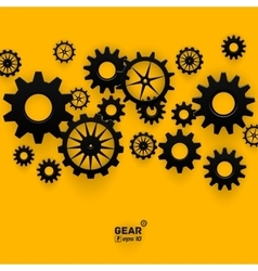 Abstract black gear wheels symbol on bright yellow vector image vector image