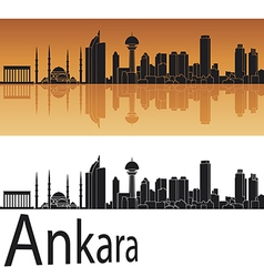 Ankara skyline in orange background vector