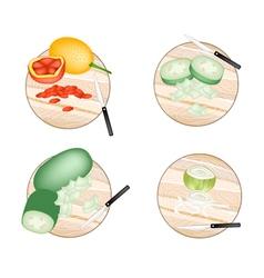 Baby jackfruit wax gourd and onions vector