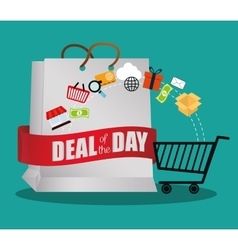 Big bag gift deals day offer shop cart vector