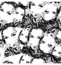 Black and white seamless with female faces vector image vector image