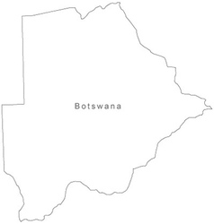 Black White Botswana Outline Map vector image vector image