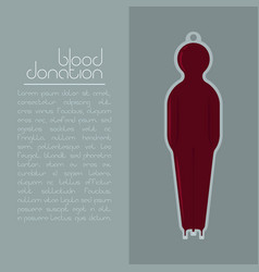 Blood donation concept blood bag with red fluid vector