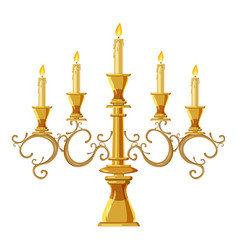 Chandelier with five candles icon cartoon style vector
