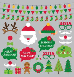 Christmas and new year photo booth props vector