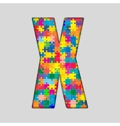 Color puzzle piece jigsaw letter - x vector