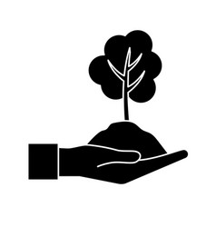 Contour hand with natural tree and ground icon vector