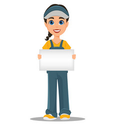 Courier woman holding blank placard professional vector