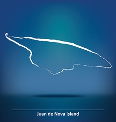 Doodle map of juan de nova island vector