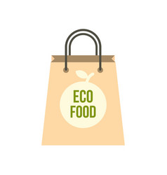 Eco food paper bag icon flat style vector