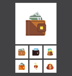 Flat icon billfold set of billfold saving wallet vector