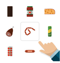 Flat icon meal set of kielbasa bratwurst meat vector