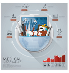 Global medical and health infographic with round vector