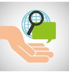 Hand optimization technology globe speech vector