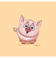 Isolated emoji character cartoon pig surprised vector
