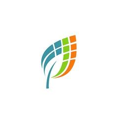 Leaf abstract technology digital logo vector
