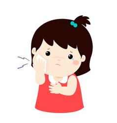 Little girl having toothache cartoon vector