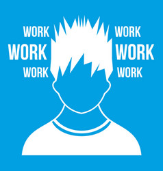 man and work words icon white vector image
