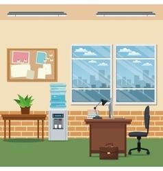 office workspace desk chair laptop lapm table vector image vector image