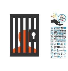 Prison door icon with 2017 year bonus symbols vector