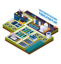 Purification plant isometric composition vector