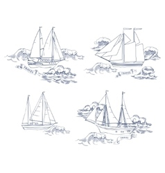 Sea travel elements set vector image