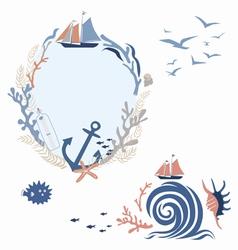 Sea voyage romantic designs vector image vector image