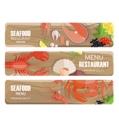 seafood of premium quality set on wooden board vector image