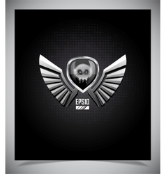 Shield with skull and wings vector image