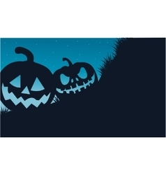 Silhouette of two pumpkins halloween vector