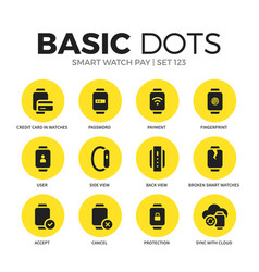 smart watch pay flat icons set vector image vector image