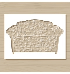 stencil template of couch on wooden background vector image vector image