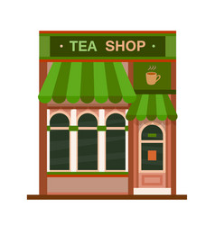 Tea shop front view flat icon vector