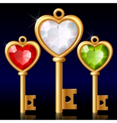 three golden keys with jewel vector image