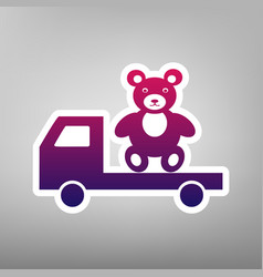 Truck with bear purple gradient icon on vector