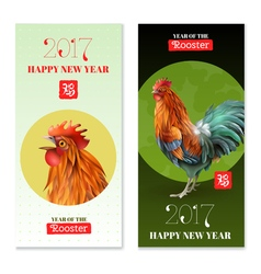 Year of rooster 2017 vertical banners vector