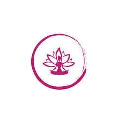 zen lotus flower woman silhouette yoga logo vector image vector image