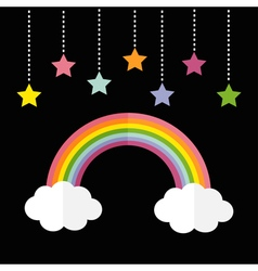 Rainbow and two white clouds colorful stars vector
