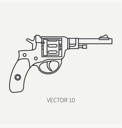 line flat plain military icon revolver vector image