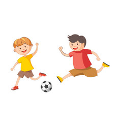 Little cheerful boys plays football isolated vector