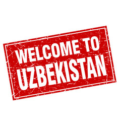 Uzbekistan red square grunge welcome to stamp vector