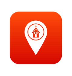 map pointer with church icon digital red vector image
