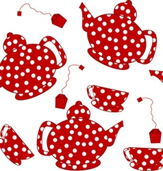 Seamless with dotted kettles tea cups and tea bags vector image