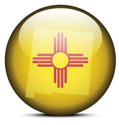 Map on flag button of usa new mexico state vector